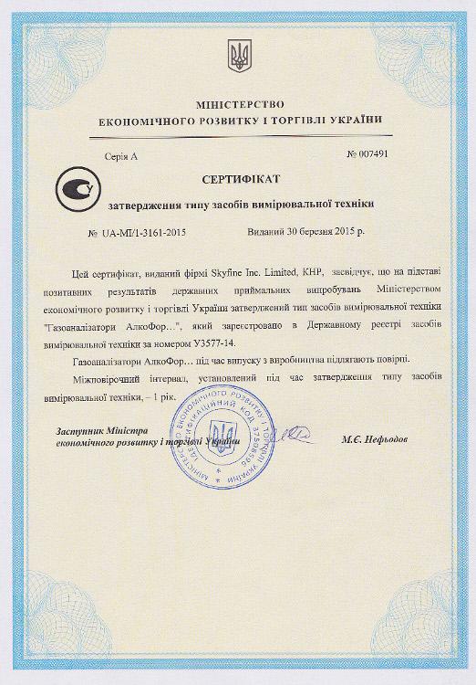 Алкотестеры АлкоФор регистрационный документ